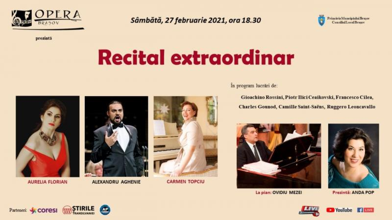 Recital extraordinar,  în week-end, de la Opera Brașov